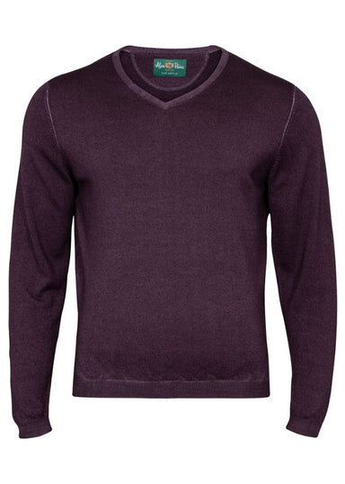 Oldstead Men's Faded Dye Merino Wool Vee Neck jumper In Blackcurrant - Classic Fit
