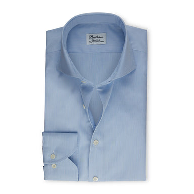 Blue Pinstriped Fitted Body Shirt
