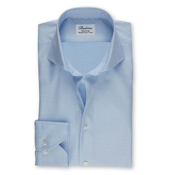 Light Blue Textured Fitted Body Shirt