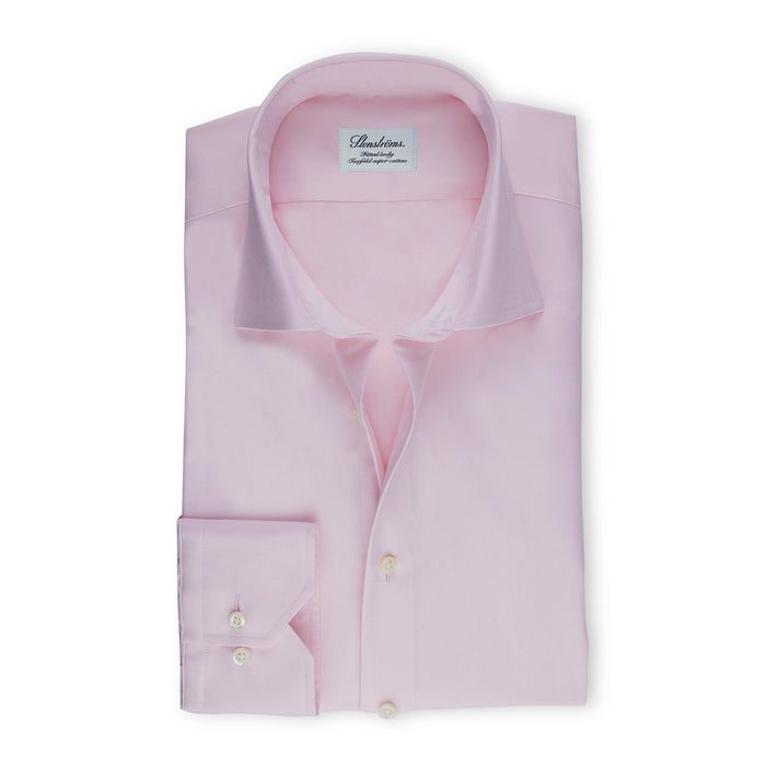Light Pink Fitted Body Shirt In Superior Twill
