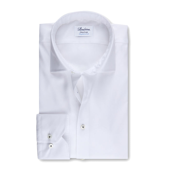 TEXTURED STRETCH SHIRT - WHITE