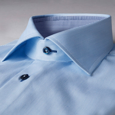 Blue Striped Fitted Body Shirt With Contrast Details
