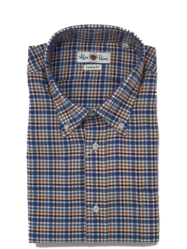 Alan Paine Blue and Orange Check Shirt