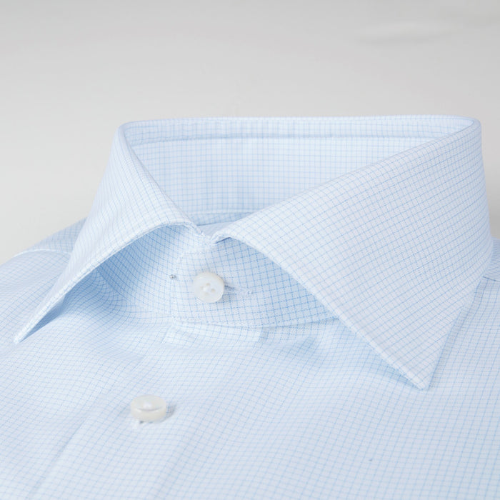 Light Blue Micro Checked Fitted Body Shirt
