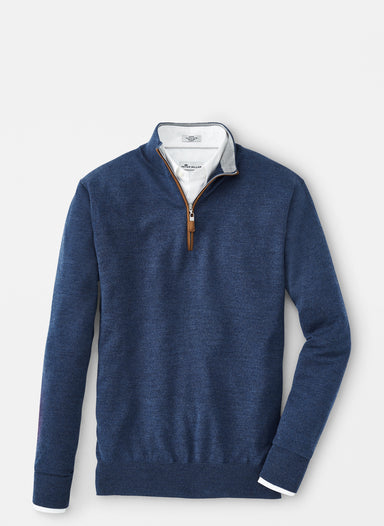 Crown Soft Suede Trim Quarter-Zip-Moon Blue