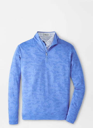 Camo Jacquard Perth Performance Pullover - Blue Sea
