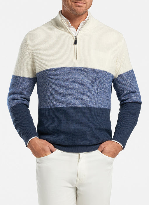 Color Block Wool-Linen Quarter-Zip Sweater