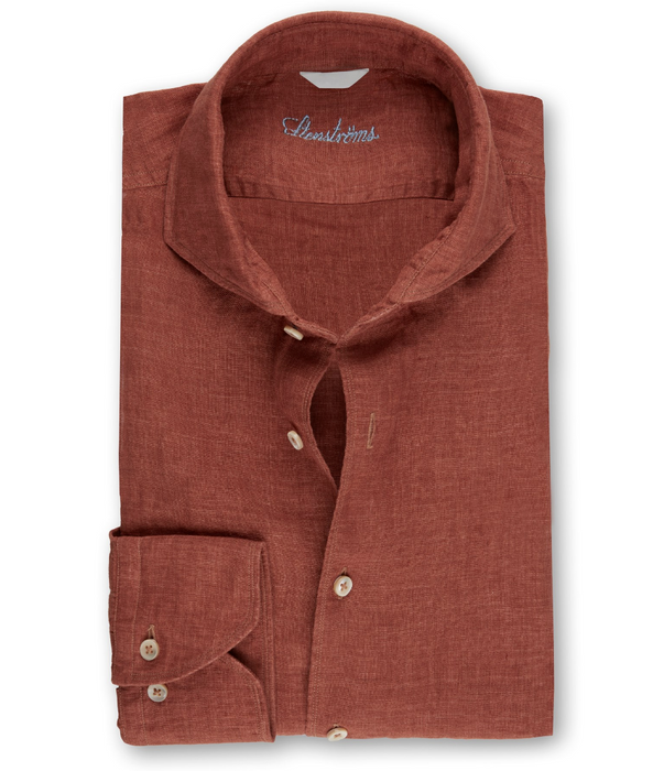 Brick Red Fitted Body Linen Shirt