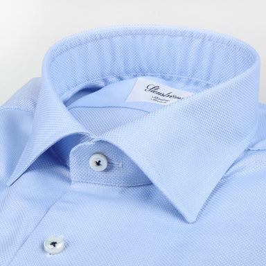 Light Blue Textured Slimline Shirt - Stretch