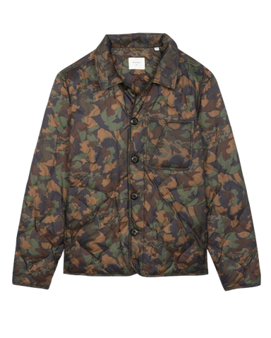 Packable Camellia Shirt Jacket-Navy/Brown Camouflage