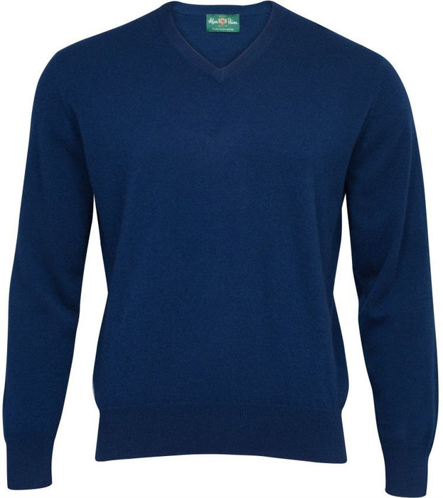Haddington Cashmere Vee Neck Jumper In Indigo - Updated Fit