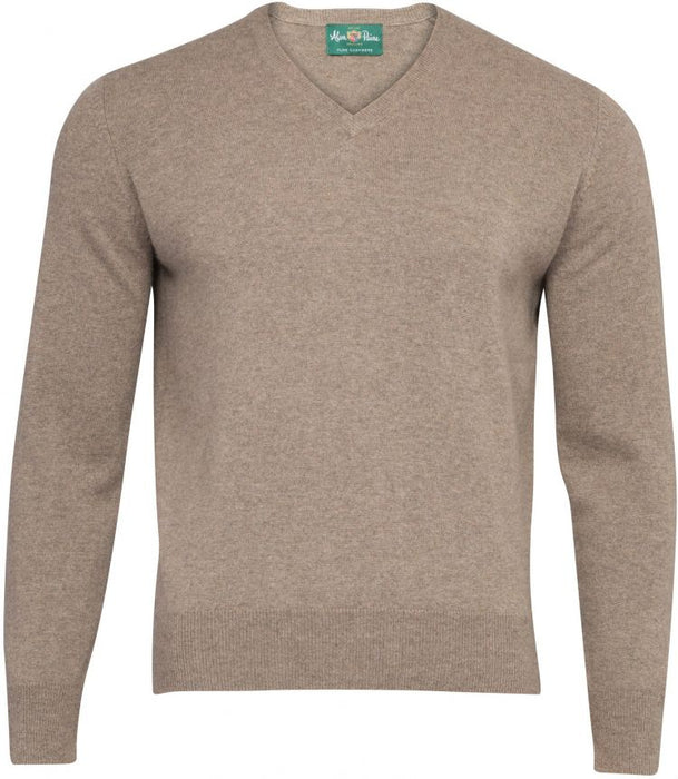 Haddington Cashmere Vee Neck Jumper In Mouse - Updated Fit