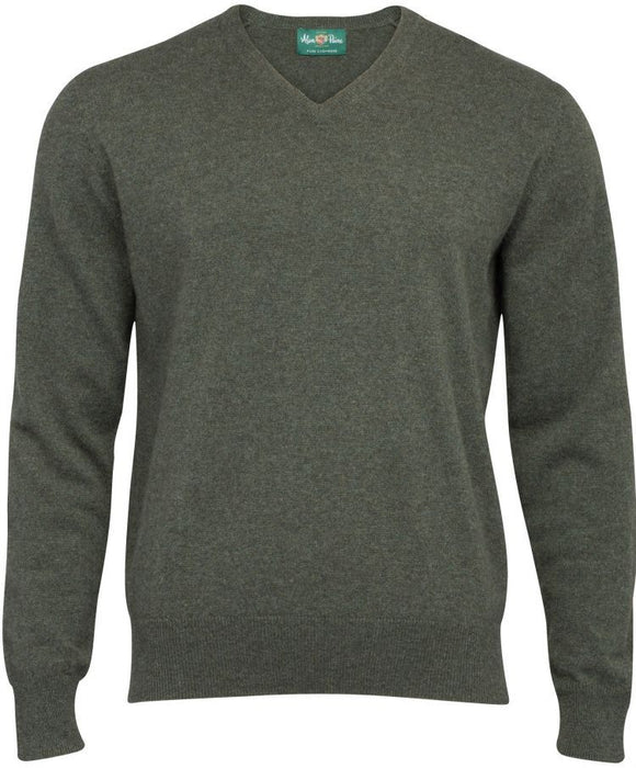Haddington Cashmere Vee Neck Jumper In Rosemary - Updated Fit