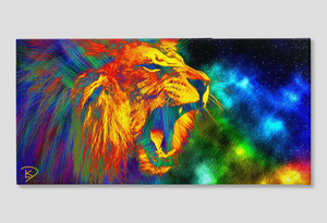 Lion Space Wall Art Lion Canvas Print
