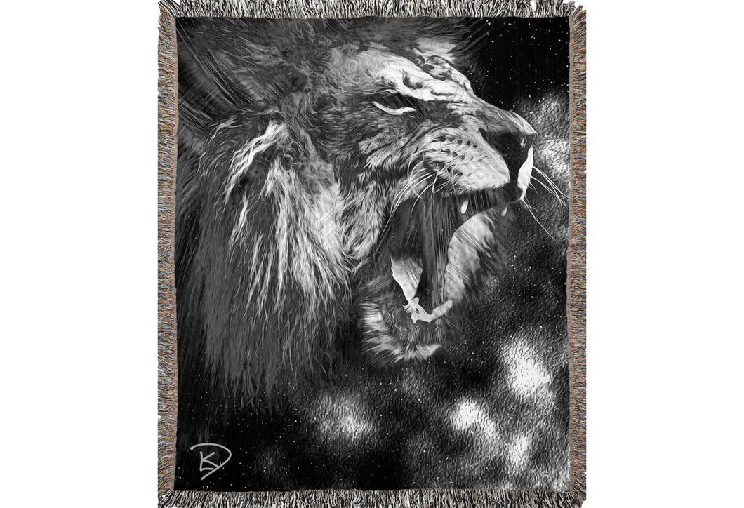 Lion Blanket Woven Abstract Lion Decor Lion Bedroom Decor