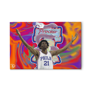 Joel Embiid Canvas Sixers Wall Art Painting Process Man Cave Art