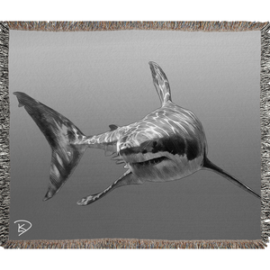 Great White Shark Blanket Shark Woven Blankets Shark Decor