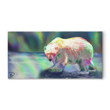 Load image into Gallery viewer, Polar Bear Art Canvas Northern Lights Art Aurora Borealis Art