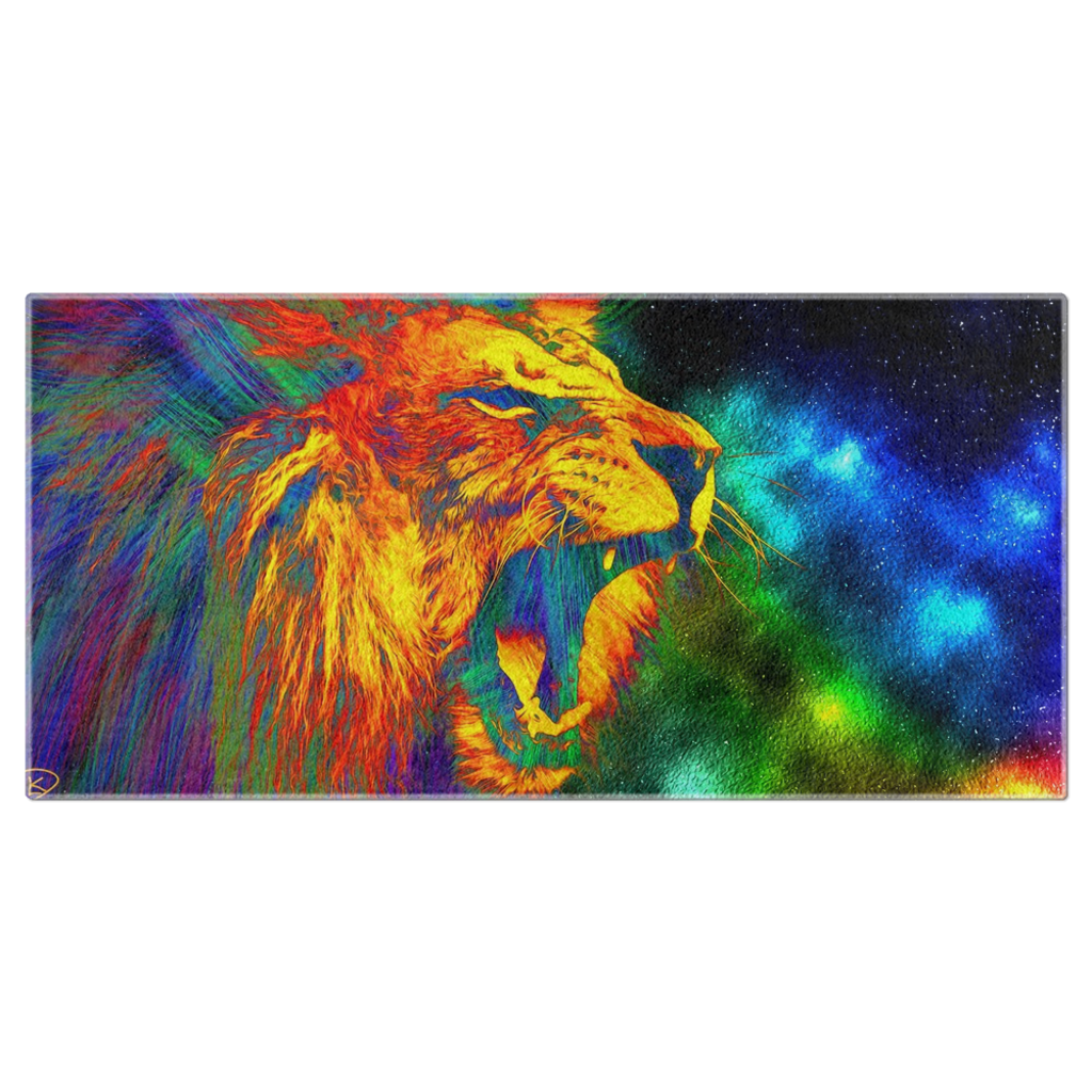 Colorful Abstract Lion Beach Towel