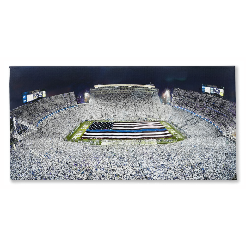 Beaver Stadium Thin Blue Line Canvas Print White Out