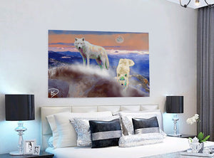 Wolf Decor Wolf Painting Wolf Art Print Canvas Wall Art