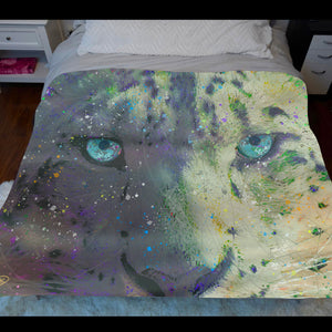 Snow Leopard Fleece Sherpa Blanket