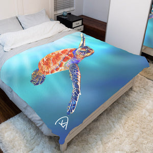 Sea Turtle Blanket Turtle Gifts Fleece Sherpa Blankets