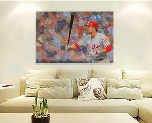 Chase Utley Canvas Print Man Cave Decor