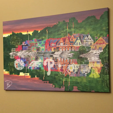 Boathouse Row Canvas Philadelphia Sports Wall Art Painting Artwork Man Cave Art