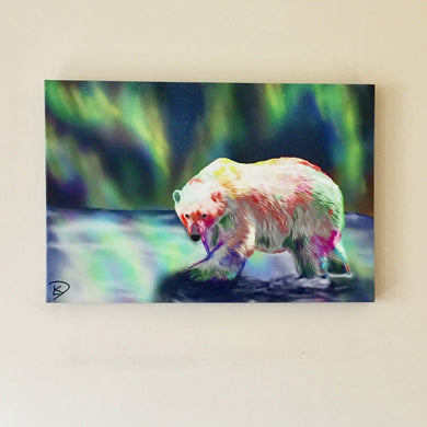 Polar Bear Art Canvas Northern Lights Art Aurora Borealis Art