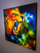 Load image into Gallery viewer, Lion Space Wall Art Lion Canvas Square