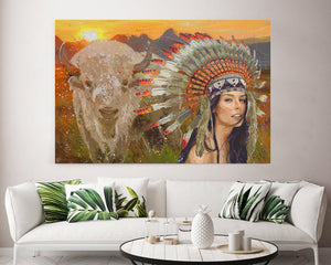 White Buffalo Canvas Print American Indian Art