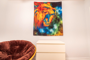 Lion Space Tapestry Psychedelic Tapestry