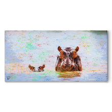 "Load image into Gallery viewer, Hippo Canvas Print ""Creation"""