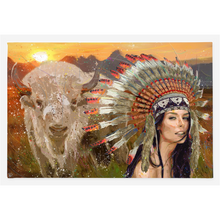 Load image into Gallery viewer, White Buffalo Canvas Print American Indian Art