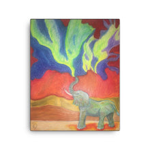 Load image into Gallery viewer, Elephant Canvas Print Northern Lights Art