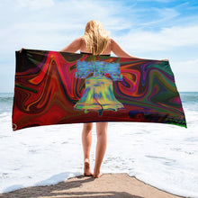 Load image into Gallery viewer, Liberty Bell Beach Towel Philadelphia Bathroom Multi Color Philly Bath Towel