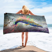 Load image into Gallery viewer, Blue Whale Beach Towel Whale Decor Whale Print Art