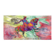 Load image into Gallery viewer, Beach Towel Boston Linen Towel Horse Statue Boston Sports Bath Towel