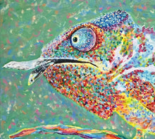Load image into Gallery viewer, Chameleon Print Reptile Decor Lizard Art Canvas Animal Art Print