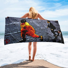 Load image into Gallery viewer, Gritty Beach Towel Hockey Gift Flyers Mascot Gritty Streaking