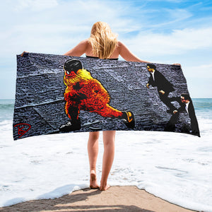Gritty Beach Towel Hockey Gift Flyers Mascot Gritty Streaking