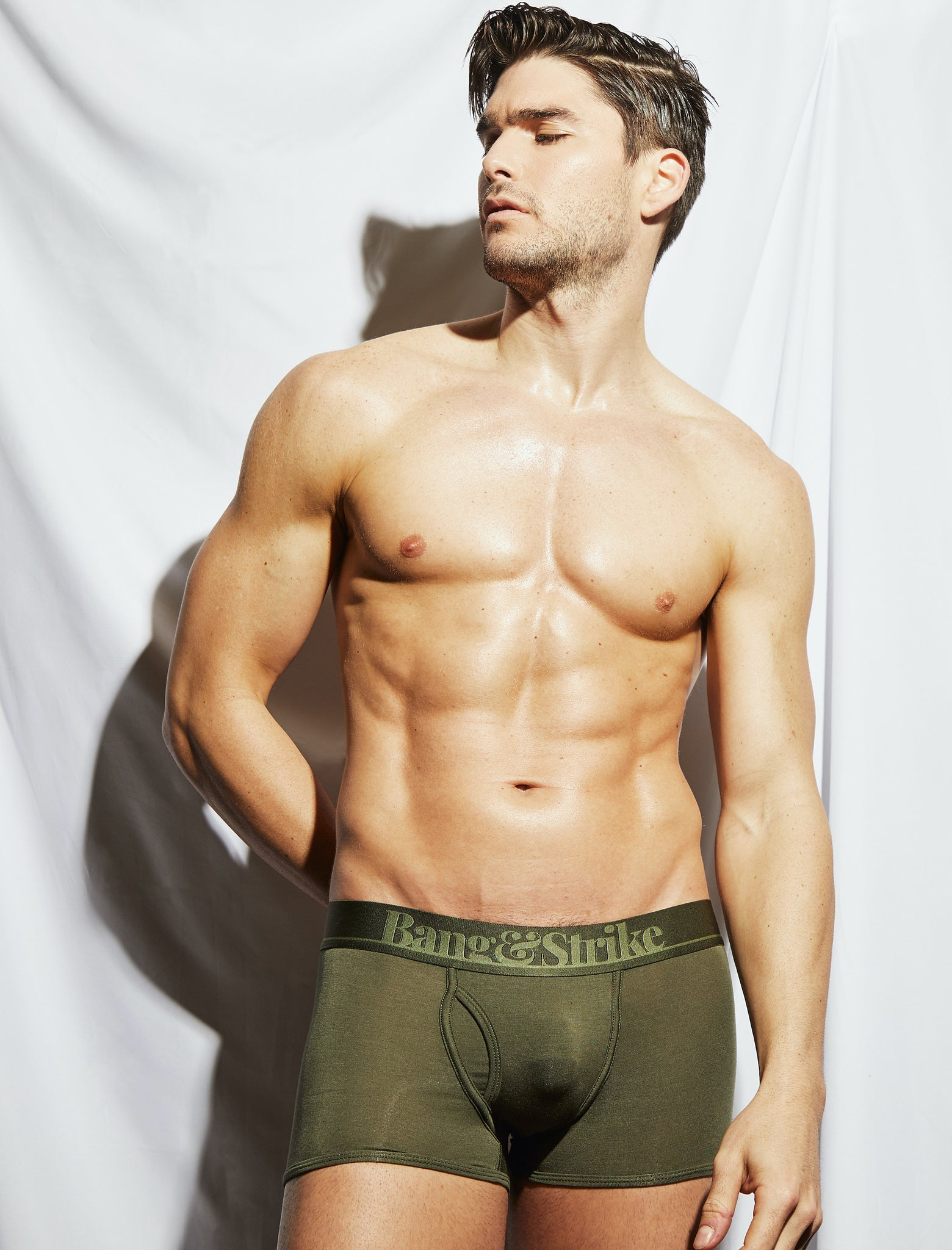 Charlie Matthews in our Rifle Green Micro Modal Fly Trunk