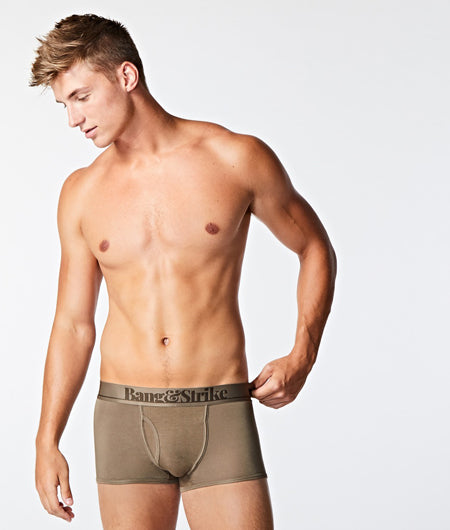 BANG&STRIKE Micro Modal Khaki Brown Fly Trunks worn by Model Ted Pullin