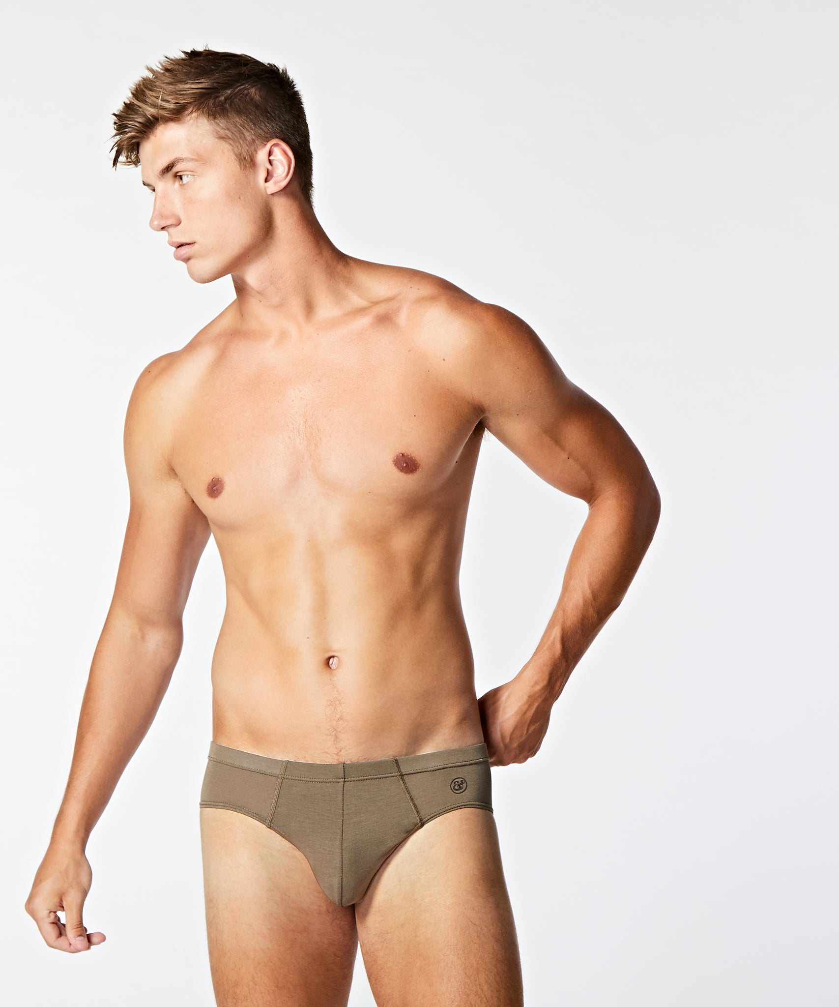 Micro Modal Slip Brief Khaki - BANG & STRIKE