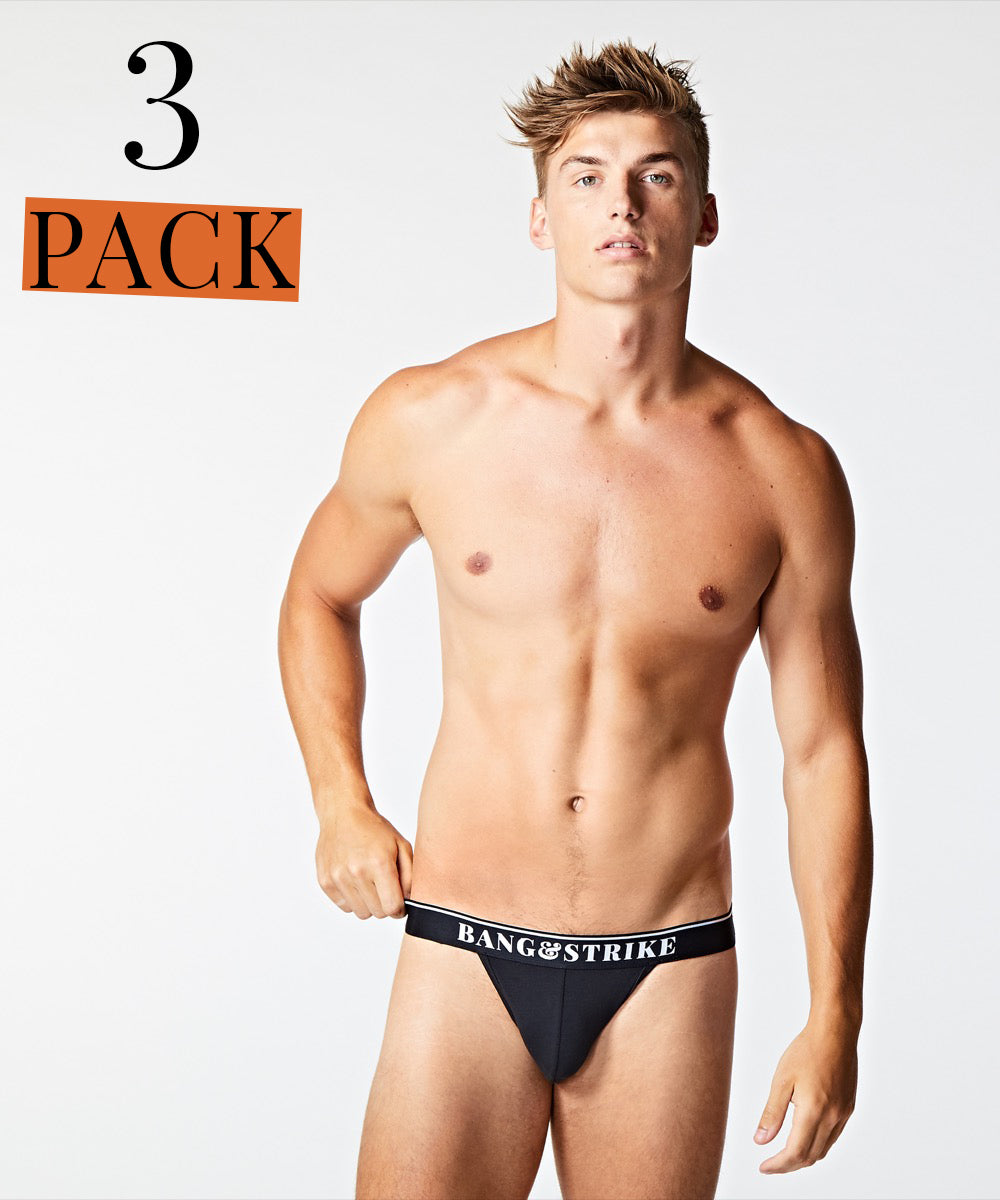 BANG&STRIKE 3 PACK Black Core Cotton Jock Straps