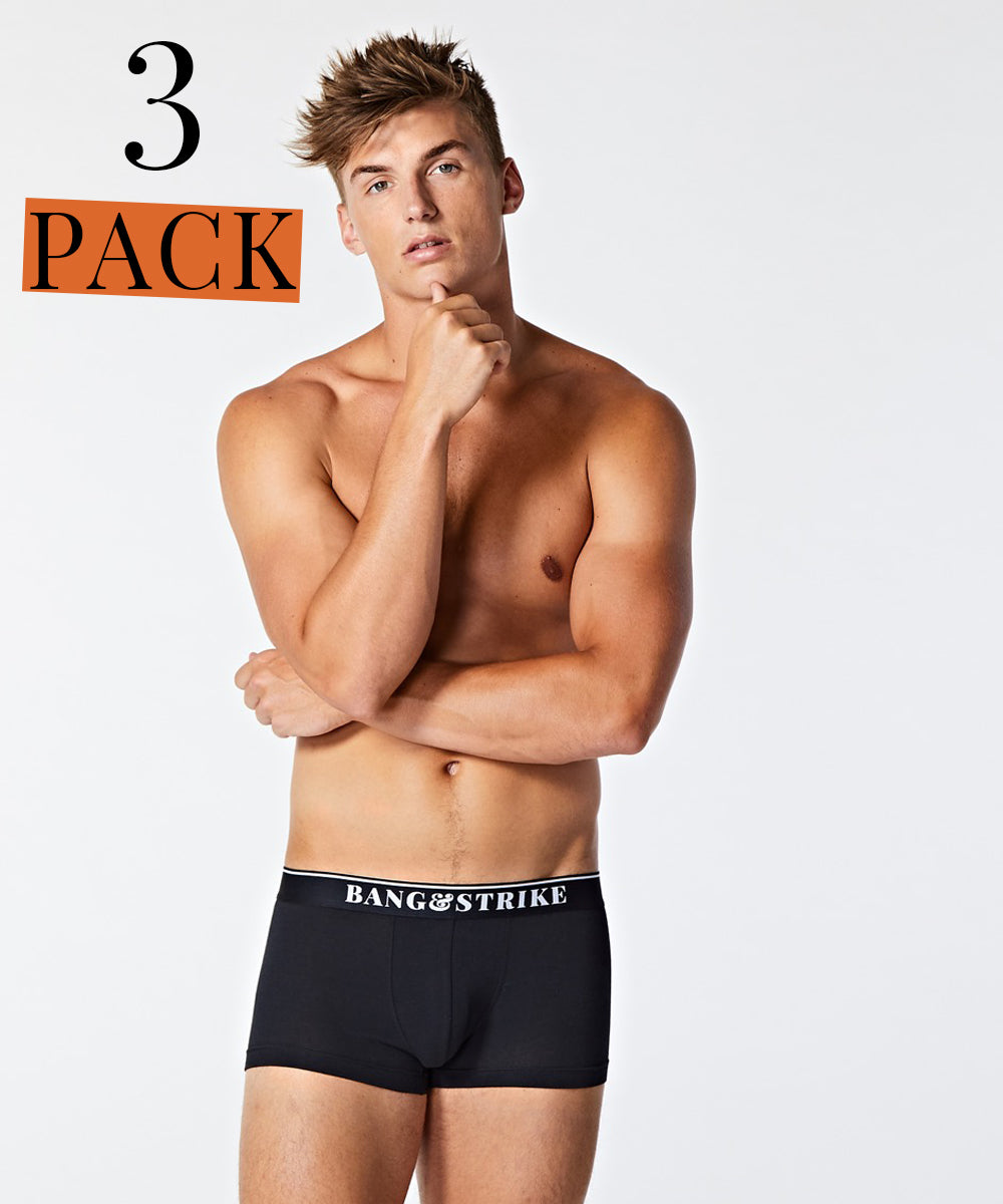 BANG&STRIKE 3 pack Black Core Cotton Trunks