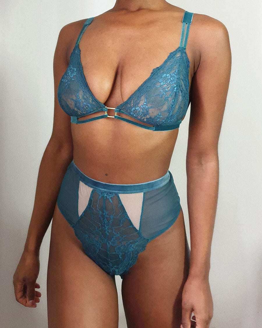Lucy Teal Lace & Velvet fuller bust triangle
