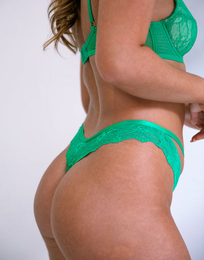 Kellie Lace & Mesh Thong With Front Ring Detail
