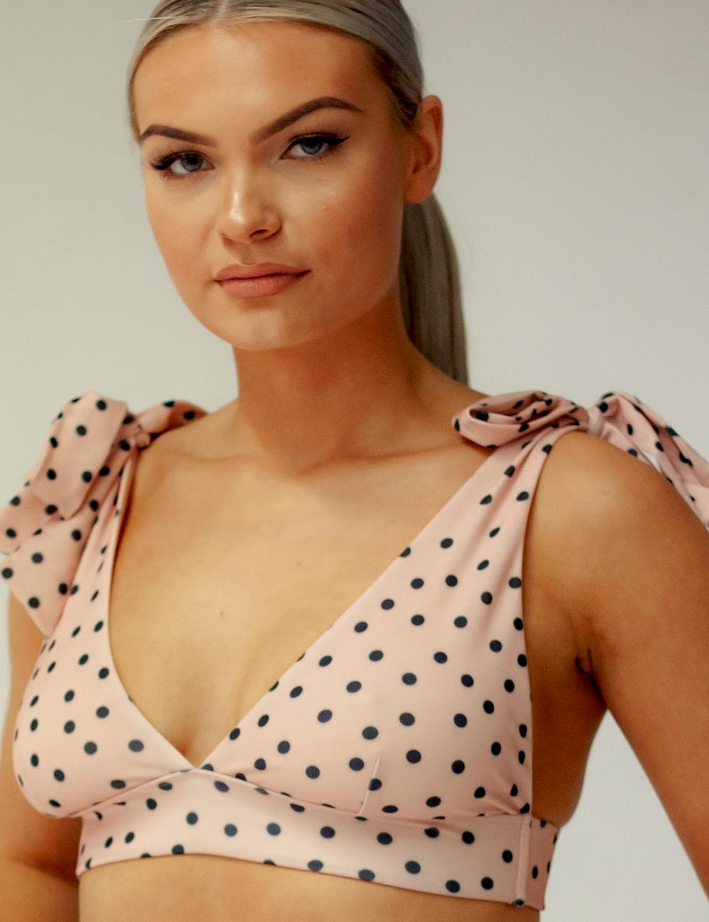 ECO Ava Spot Tie shoulder Bikini Top